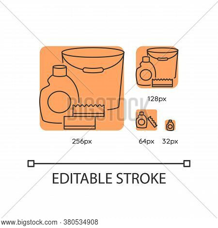 Cleaning Supplies Orange Linear Icons Set. Detergent For Sanitation. Disinfectant In Bottle. Thin Li