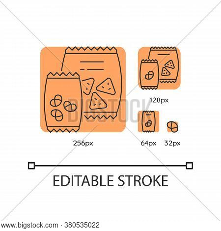Snacks Orange Linear Icons Set. Potato Chips In Bag. Salty Crackers In Packet. Junk Food. Thin Line
