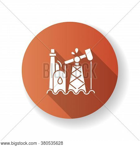 Oil Industry Brown Flat Design Long Shadow Glyph Icon. Petroleum Refinery Station, Fossil Fuel Extra