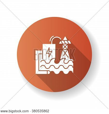Wave Energy Brown Flat Design Long Shadow Glyph Icon. Ecologically Safe Power Plant. Using Sea Waves