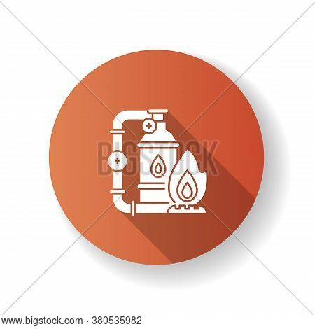 Gas Industry Brown Flat Design Long Shadow Glyph Icon. Energy Business. Natural Resources Exploitati