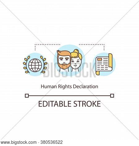 Human Rights Declaration Concept Icon. Rights And Freedoms Of Individuals Idea Thin Line Illustratio