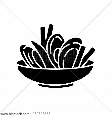 Moules Frites Black Glyph Icon. Traditional Mussels And Chips. French National Meal. Brussel Culinar