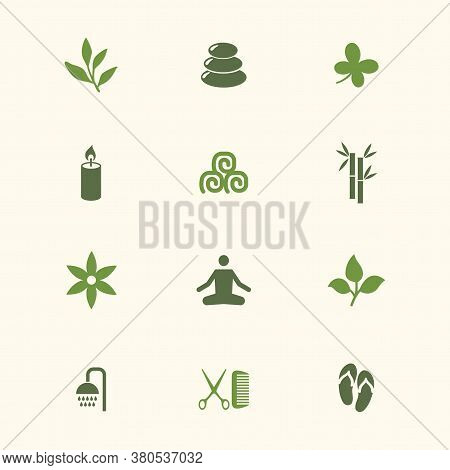 Icon Spa Set. Vector Illustrations With Bamboo, Candle, Towel, Slippers, Yoga, Flower, Branch Simbol