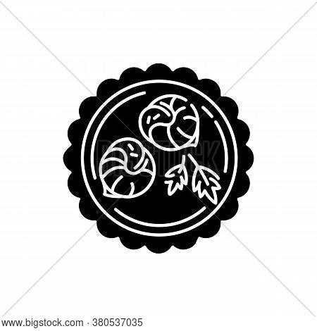 Escargot De Bourgogne Black Glyph Icon. French Shellfish Dish. Traditional European Cuisine. Luxury