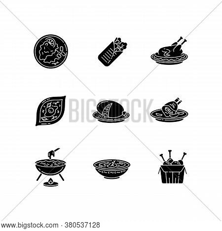 Cafe Meals Black Glyph Icons Set On White Space. Wrapped Shawarma With Meat And Lettuce. Peking Duck