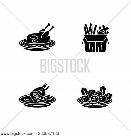 National Cookery Black Glyph Icons Set On White Space. Fast Food. Peking Duck. British Fish And Chip