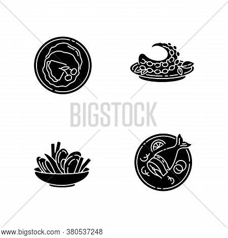 National Dish Black Glyph Icons Set On White Space. French Crepes. Thin Pancakes. Mussels And Chips.