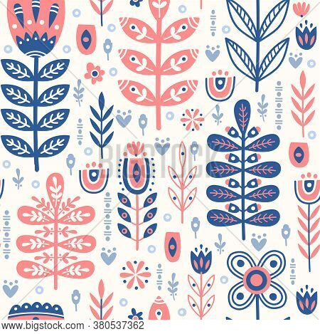 Seamless Pattern In Scandinavian Style With Tree, Flowers, Leaves, Branches. Folk Art. Vector Nordic