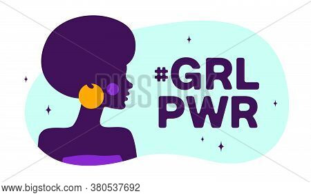 Girl Power. Modern Flat Character. Silhouette Woman Speak Speech Bubble Text Girl Power. Simple Char