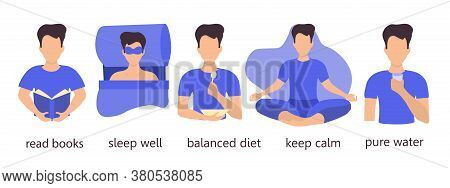 Illustration Of A Young Man Leading A Healthy Lifestyle. Reads Books, Eats Right, Drinks Water, Slee