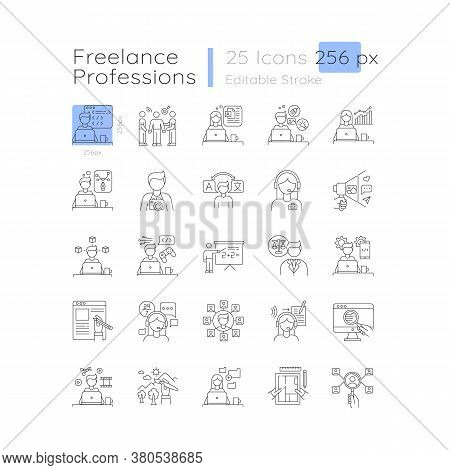 Freelance Professions Linear Icons Set. Branding And Hr Management, Data Entry Jobs. Customizable Th