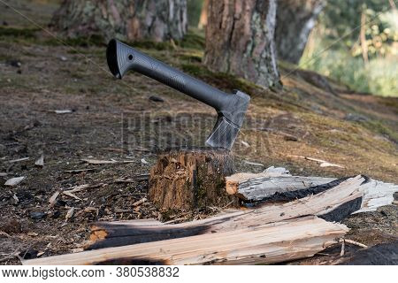 A Small Modern Ax Sticks Out In A Stump Near Which Chopped Charred Firewood Is Scattered For A Campf