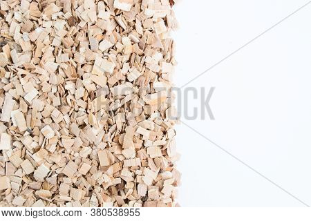 Alder Chips For Smoking Products. Background Of Alder Chips. Copy Space
