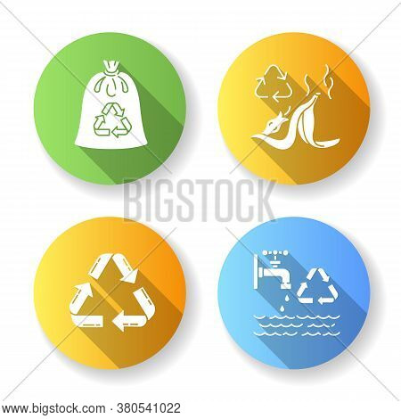 Zero Waste Tips Flat Design Long Shadow Glyph Icons Set. Food Waste Recycling, Compostable Trash Bag