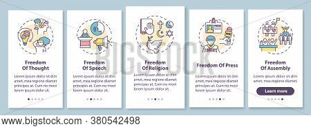 Basic Human Freedoms Onboarding Mobile App Page Screen With Concepts. Fundamental Human Rights. Walk