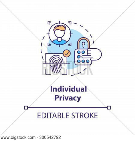 Individual Privacy Concept Icon. Personal Information Protection Idea Thin Line Illustration. Finger