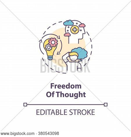 Freedom Of Thought Concept Icon. Conscience Freedom Idea Thin Line Illustration. Thinking. Viewpoint