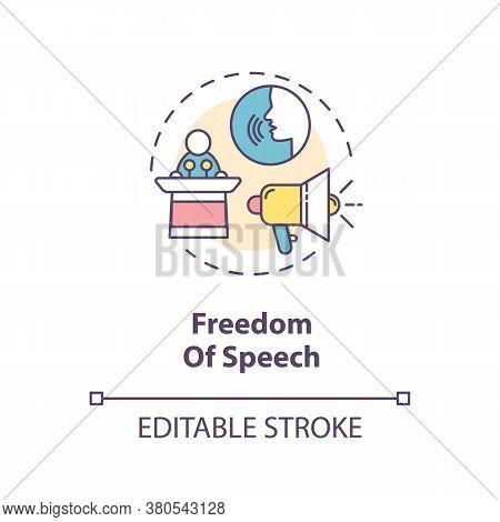 Freedom Of Speech Concept Icon. Freedom Of Expression Idea Thin Line Illustration. Fundamental Human