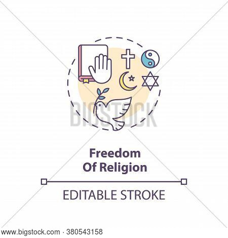 Freedom Of Religion Concept Icon. Religious Liberty And Pluralism Idea Thin Line Illustration. Funda