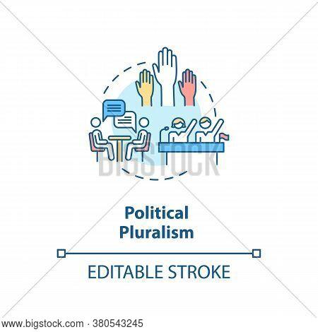 Political Pluralism Concept Icon. Political Diversity Idea Thin Line Illustration. Different Parties