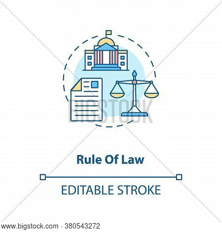 Rule Of Law Concept Icon. Principle Of Law Idea Thin Line Illustration. Constitutionalism. Political