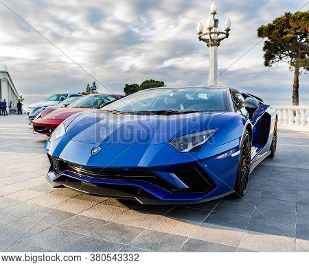 11-02-2018 Baku / Azerbaijan: Lamborghini Aventador, Ferrari At The Exhibition