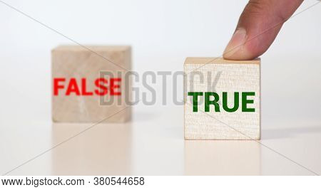 True Or False. Small Blackboards With The Text - True Or False, On Wood Background