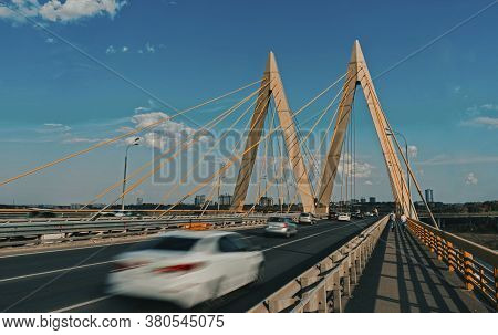 The Millennium Bridge In Kazan. Cable-stayed Bridge On The Highway.