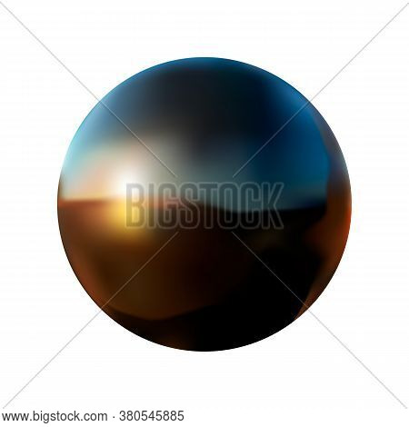 Black Ball With Reflection On A White Isolated Background Vector Illustration.