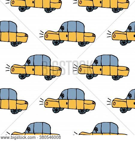 Cartoon Doodle Linear Seamless Pattern With Cars In Childlike Style.  Taxi Background. Vector Illust