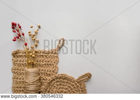 Creative Composition With Natural Body Jute Washclothes Or For Dishes, And Twine Roll - Linen Or Can