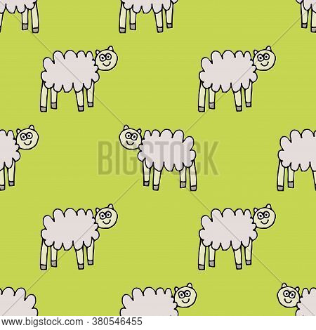 Cartoon Doodle Linear Sheep Seamless Pattern. Infinity Backdrop With Farm Animal In Childlike Style.