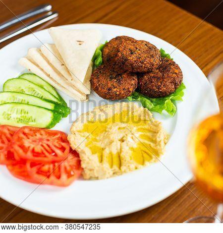 Vegetarian, Veggie Burger Ingredients On The Plate
