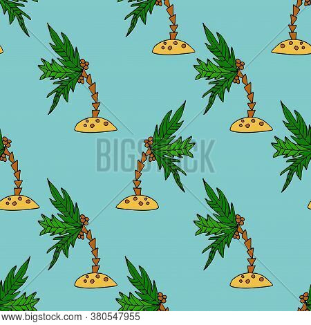 Cartoon Doodle Coconut Palm On The Little Island Seamless Pattern. Background With Tropic Plant In C