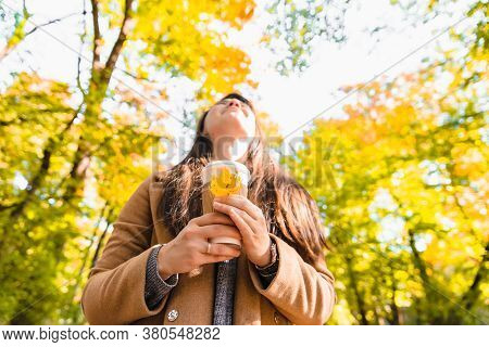 Woman Holding Coffee Cup Drink To Go Autumn Fall Season
