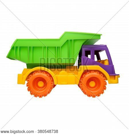 Children Toy Dump Truck Realistic Vector Illustration On A White Isolated Background.
