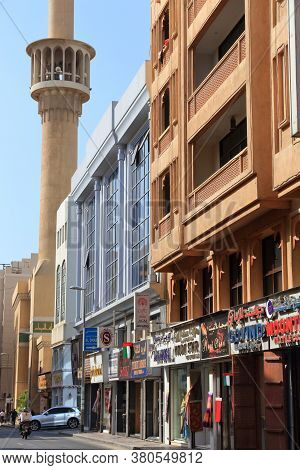 Dubai, Uae - December 9, 2017: People Visit Shopping Street In Al Souk Al Kabir District Of Dubai, U