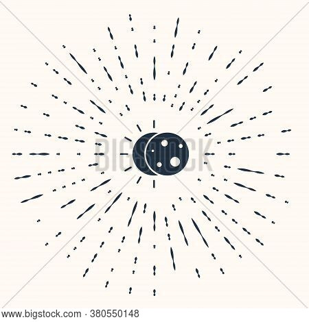 Grey Eclipse Of The Sun Icon Isolated On Beige Background. Total Sonar Eclipse. Abstract Circle Rand