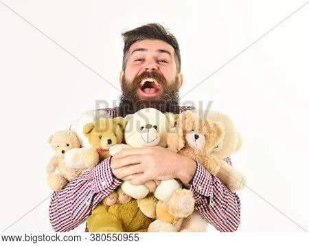Sharing And Generosity Concept. Generous Man Prepared Many Teddy Bears
