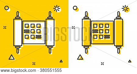 Black Decree, Paper, Parchment, Scroll Icon Icon Isolated On Yellow And White Background. Chinese Sc
