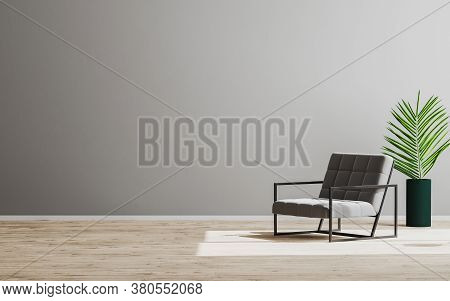 Empty Room Mock Up With Gray Armchair And Green Plant, Empty Gray Wall And Wooden Floor, Gray Room I