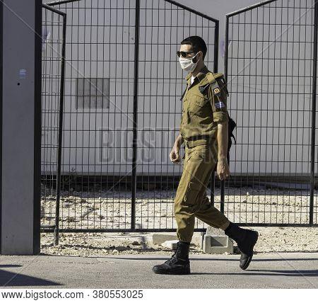 Jerusalem, Israel - August 6th, 2020: An Israeli Soldier Wearing A Covid Mask On A Jerusalem, Israel