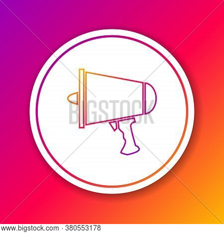 Color Line Spread The Word, Megaphone Icon Isolated On Color Background. Circle White Button. Vector