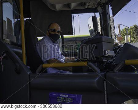 Jerusalem, Israel - August 6th, 2020: An Israeli Bus Driver Wearing A Covid Mask In Jerusalem.