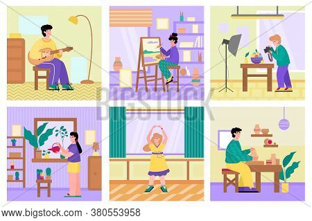Set Of People Performing Free Time Activities And Hobbies, Flat Cartoon Vector Illustration. People