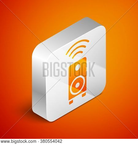 Isometric Smart Stereo Speaker System Icon Isolated On Orange Background. Sound System Speakers. Int