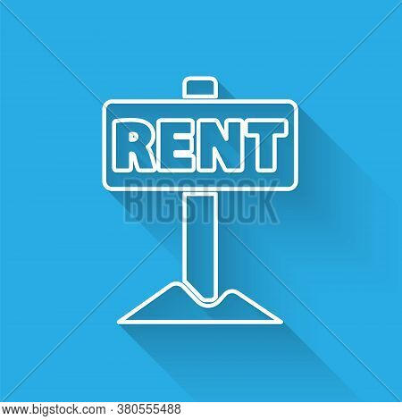 White Line Hanging Sign With Text Rent Icon Isolated With Long Shadow. Signboard With Text For Rent.