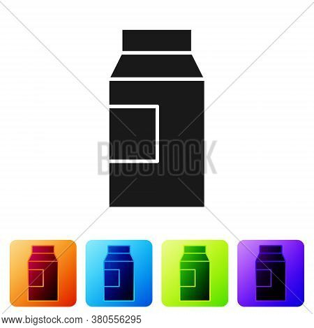 Black Paper Package For Milk Icon Isolated On White Background. Milk Packet Sign. Set Icons In Color