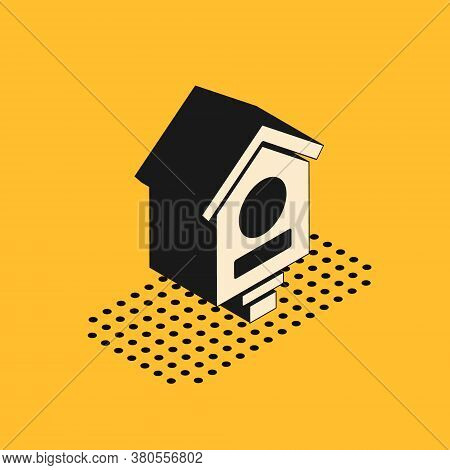 Isometric Bird House Icon Isolated On Yellow Background. Nesting Box Birdhouse, Homemade Building Fo